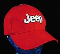 Jeep Red Baseball Cap Hat Embroidered Logo Wrangler Suv Grand Cherokee CJ - $15.99