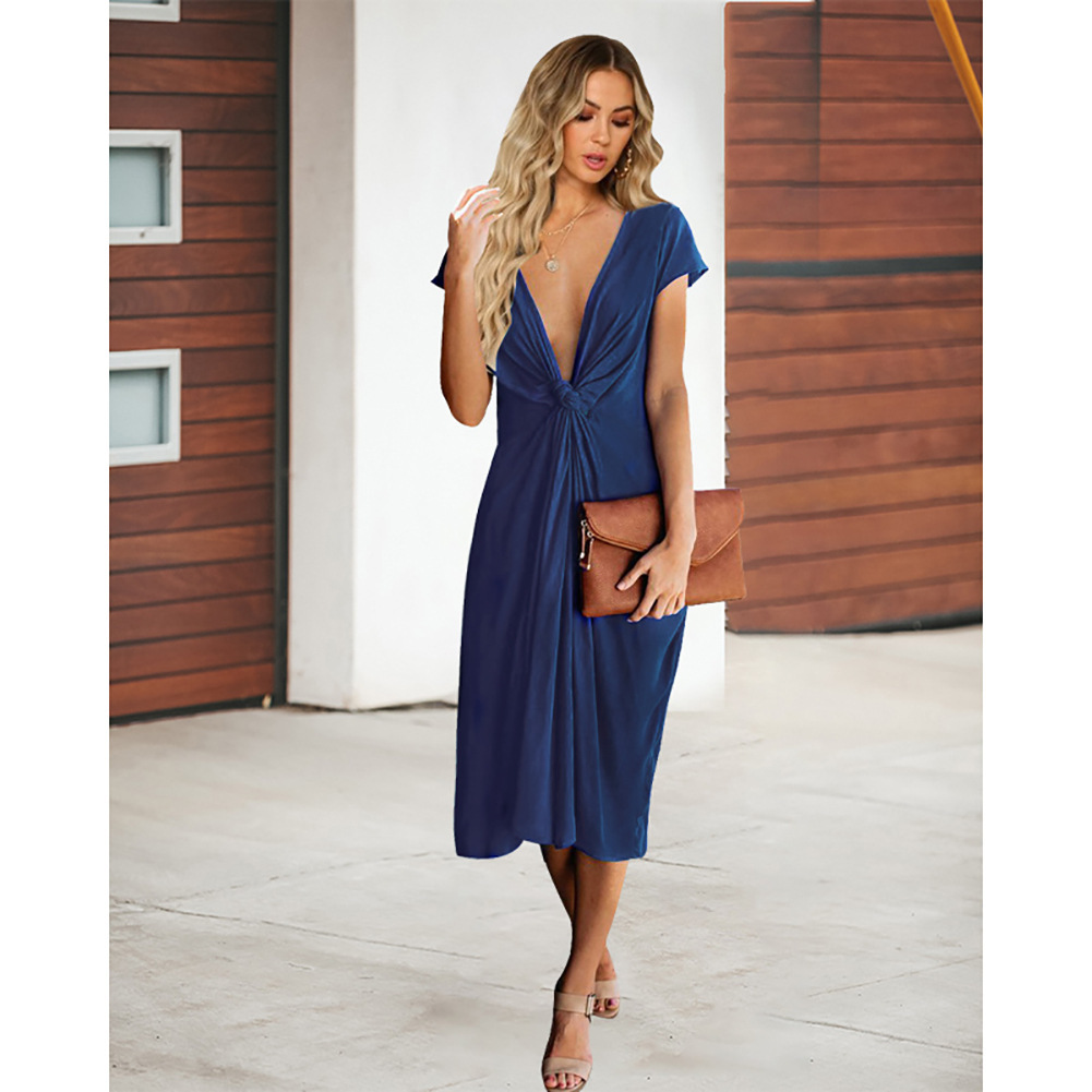 Navy Blue V-Neck Short Women Skirts With Short Sleeve Prom Party Gowns Summer