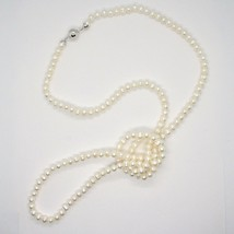 110 cm long necklace in 18k white gold freshwater white pearls made in italy image 1