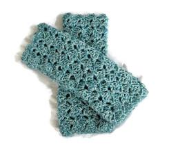 Crocheted  Fingerless Gloves, Crocheted Wristers, Blue Green, Wrist Warmers - $13.50