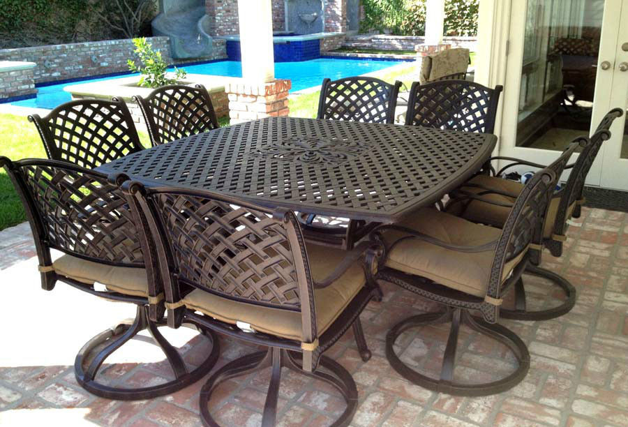 Cast Aluminum furniture 9 piece Patio dining set Nassau outdoor chairs and table