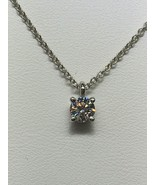 "TIFFANY & CO. .950 Platinum .24ct+/- Solitaire Pendant (16"") - $1,185.00"