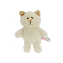 NICI Snow Cat Girl Beige Stuffed Animal Plush Beanbag Keyring 4 inches 1... - $11.00