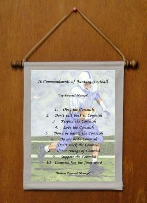 10 Commandments of Fantasy Football - Personalized Wall Hanging (762-1)