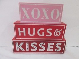 Valentines Day Hugs & Kisses Wood Sign Table Red Pink Decor Decoration 8... - $17.99