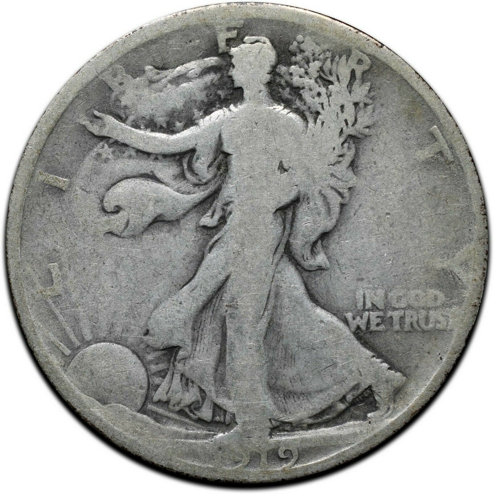 1919 Walking Liberty Half Dollar 90% Silver Coin Lot# A 406