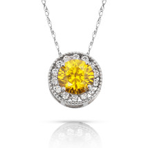 1.90Ct Created Diamond & Citrine Round Halo Charm Pendant 14K W Gold w/ Chain - $69.28+