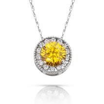 1.90Ct Created Diamond & Citrine Round Halo Charm Pendant 14K W Gold w/ Chain - $69.28+