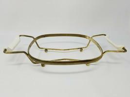 Vintage Corning Ware Gold Tone Brass Ball Footed Casserole Trivet Holder - $12.30
