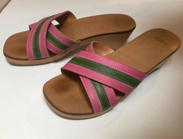Coach Clogs Cognac Wood Platform Mules Slide Pink Stripe Tropical Sandals Sz 6 - $88.11