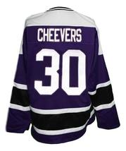Any Name Number Cleveland Crusaders Retro Hockey Jersey Cheevers Purple Any Size image 2