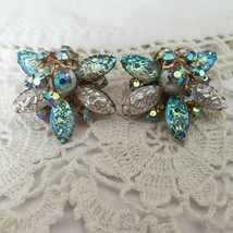Cathe AB Rhinestone Art Glass Clip On Earrings Faux Pearl Layered Starbu... - $35.64
