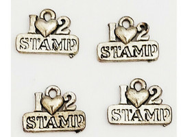"""Silver """"I Love to Stamp"""" Charms, 4 Count"""