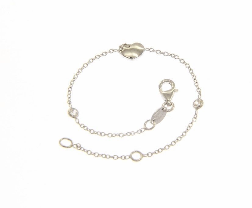 18 KT WHITE GOLD BRACELET FOR KIDS WITH HEART AND CUBIC ZIRCONIA MADE IN ITALY