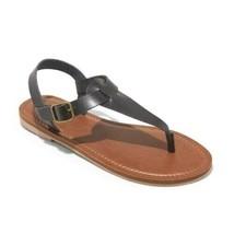 Universal Thread Womens Black Faux Leather Lady Toe Thong Summer Sandals Vegan
