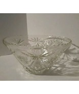 Vintage Heavy clear glass/ Large punch bowl/Starburst flowers etched/ se... - $18.70