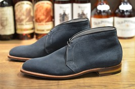 Handmade Men Navy Blue Suede Chukka Boots, Men Casual Suede leather ankle boots - $169.99