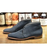 Handmade Men Navy Blue Suede Chukka Boots, Men Casual Suede leather ankl... - $169.99