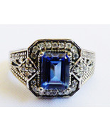 Karis Collection Silver Plated Ring Emerald Cut blue stone Size 7.5 - $33.26
