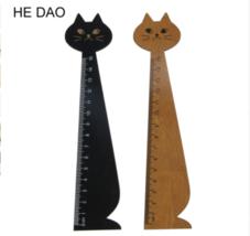 15cm Lovely Cat Shape Ruler Cute Wood Animal Straight Ruler Gift For Kid... - €13,85 EUR