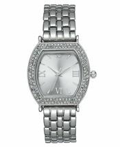 Charter Club Mujer Tono Plata Cristal Tonneau Estuche Pulsera Reloj 28mm Nuevo
