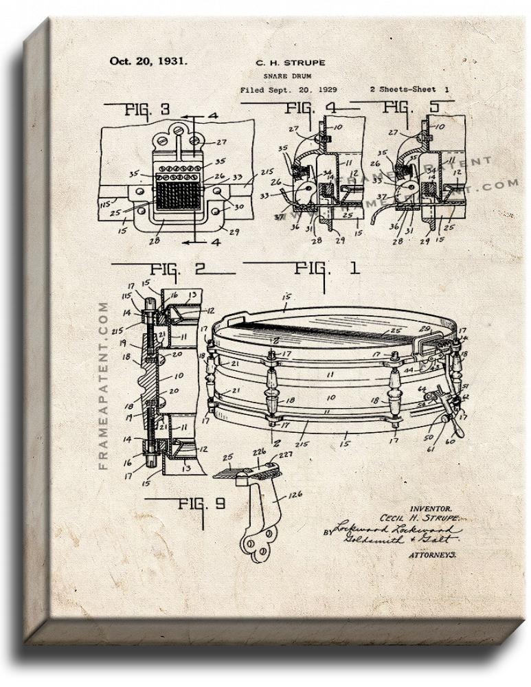 Primary image for Snare Drum Patent Print Old Look on Canvas