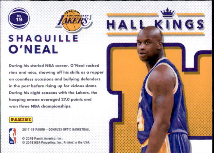 Shaquille O'Neal 2017-18 Donruss Optic Hall Kings Card #19