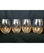 Mikasa Electric Boulevard Gold Swirl Stemless Wine Glasses New w/Tags - $56.95
