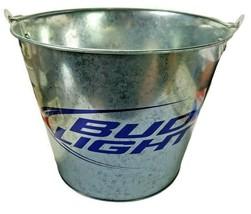"Budweiser Bud Light Beer Ice Bucket 5 Qt Galvanized 7 1/4"" Tall - $14.86"