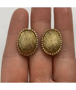 Vintage Brushed Gold Tone Oval Clip On Earrings Textured Unsigned - $11.10