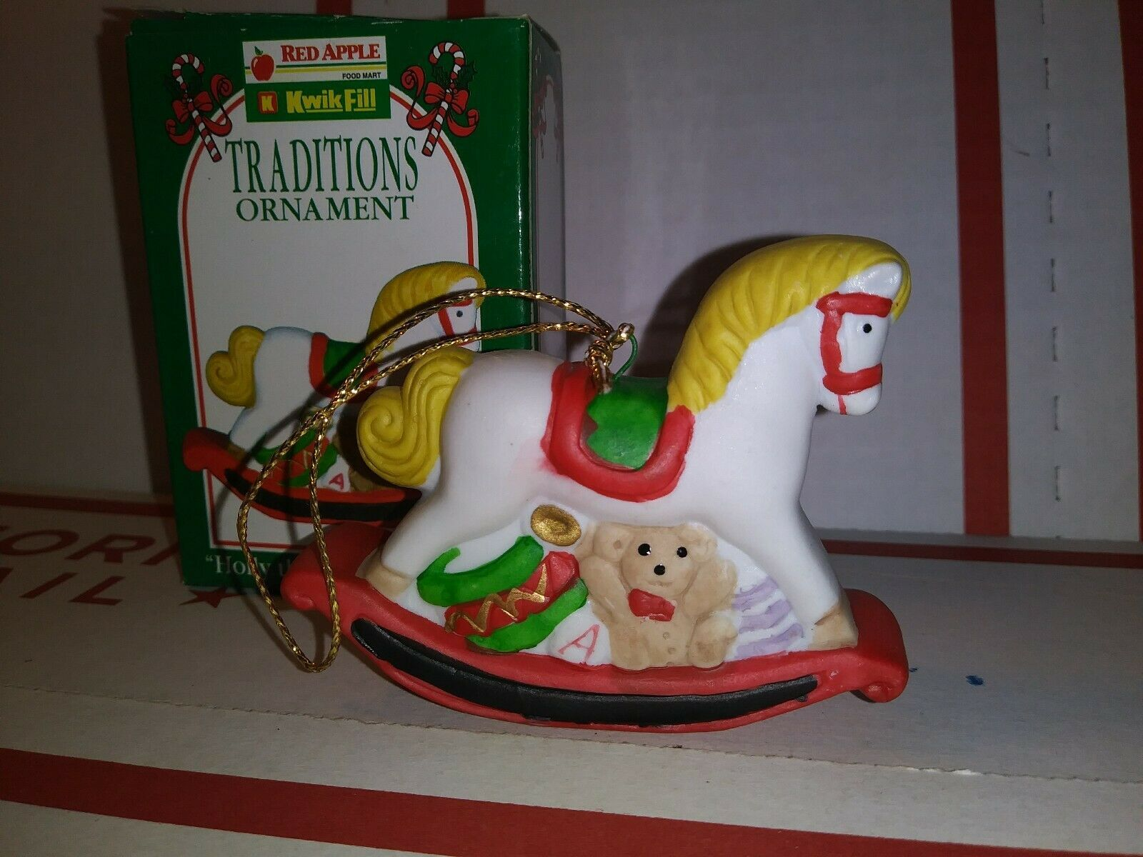 Primary image for 1996 Kwik Fill Traditions Ornament Holly the Rocking Horse Gas Station Christmas