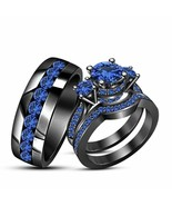 14k Black Gold Over 2.00 CT Round Cut Blue Sapphire His & Her Trio Weddi... - $80.61