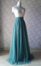 MISTY GREEN Full Long Tulle Skirt Misty Green Floor Length Bridesmaid Skirt image 2