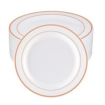 WDF 60pcs Disposable Plastic Plates-10.25inch Dinner Plates- Rose Gold T... - $38.78
