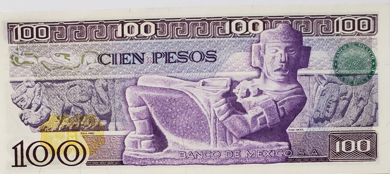 El Banco de Mexico S.A. Cien Pesos 30 May 1974 Serie &, uncirculated, very nice image 2