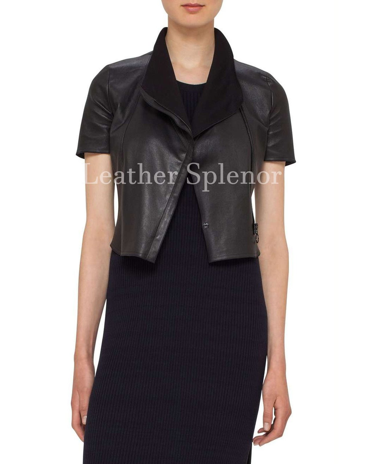 Cropped Short Sleeves Women Leather Jacket