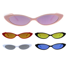 Womens Narrow Cat Eye Color Mirror Lens Goth Plastic Sunglasses - $9.95