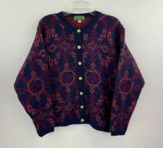 Vtg Equorian Large Wool Mohair Cardigan Sweater Blue Orange Metal Button... - $26.08