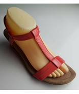 Alfani Coral / Salmon T - Strap Ankle Wedge Sandal Size 9 - $33.01 CAD