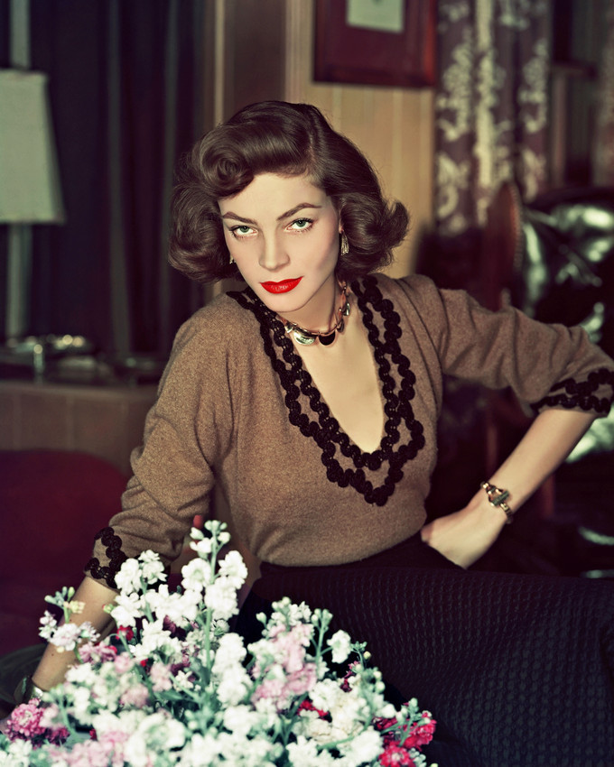Primary image for Lauren Bacall Vintage color portrait by flowers 16x20 Canvas Giclee