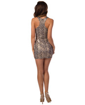 SEXY GOLD FAUX LACE RACER BACK DRESS - $19.99