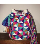 Authentic 100% Wayuu Mochila Colombian Bag Medium Size Multicolors Trian... - $52.00