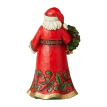 """Jim Shore Santa Holding Holly Wreath 12"""" High Christmas Collectible Red Green image 2"""