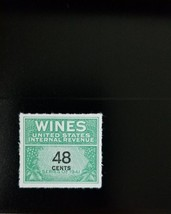 1942 48c U.S. Internal Revenue Cordial & Wine, Green Scott RE138 Mint F/... - $8.94