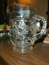 VINTAGE ANCHOR HOCKING PRESCUT STAR PATTERN PRESSED GLASS PINT SIZE PITCHER - $23.27