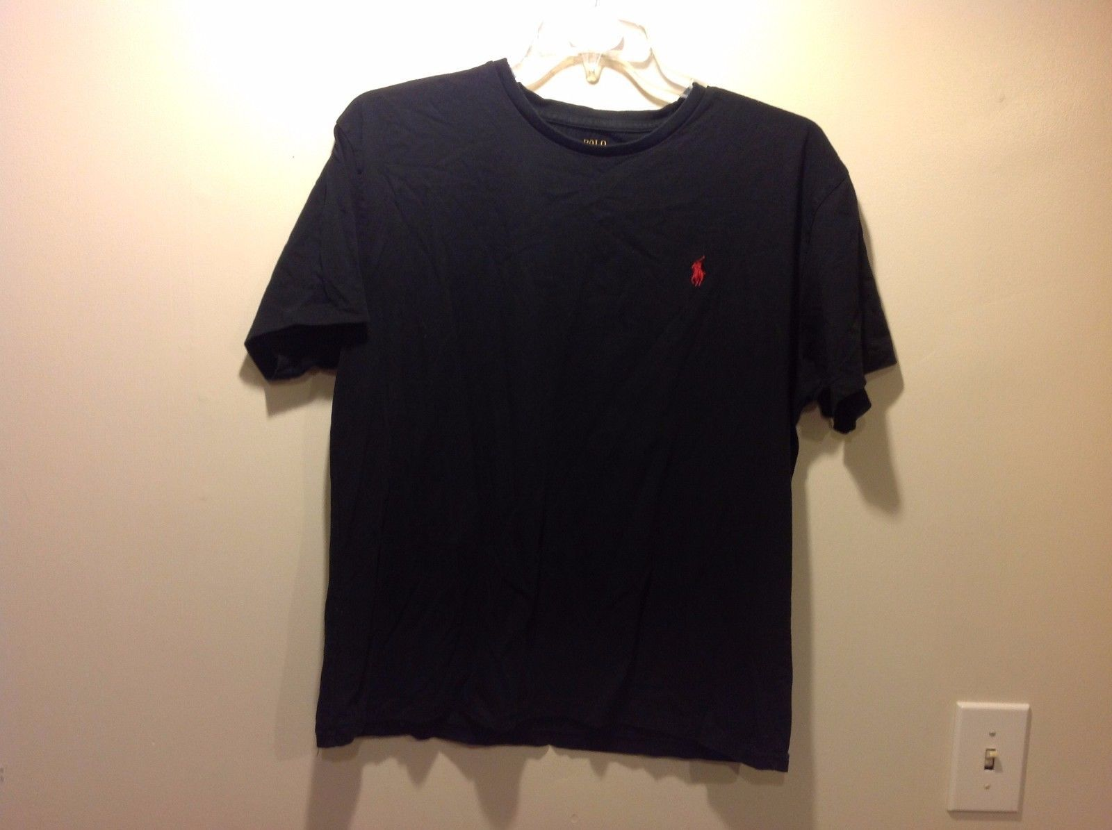 Polo by Ralph Lauren Black Short Sleeve Tee w Red Ralph Lauren Logo Sz L