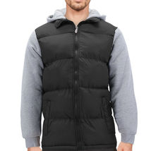 Men's Hybrid Puffer Lightweight Utility Insulated Hooded Quilted Zipper Jacket image 11