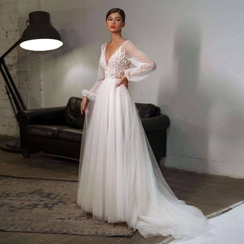 Ian wedding dresses v neck appliques puff sleeves beach wedding gowns bridal dress vestidos boho
