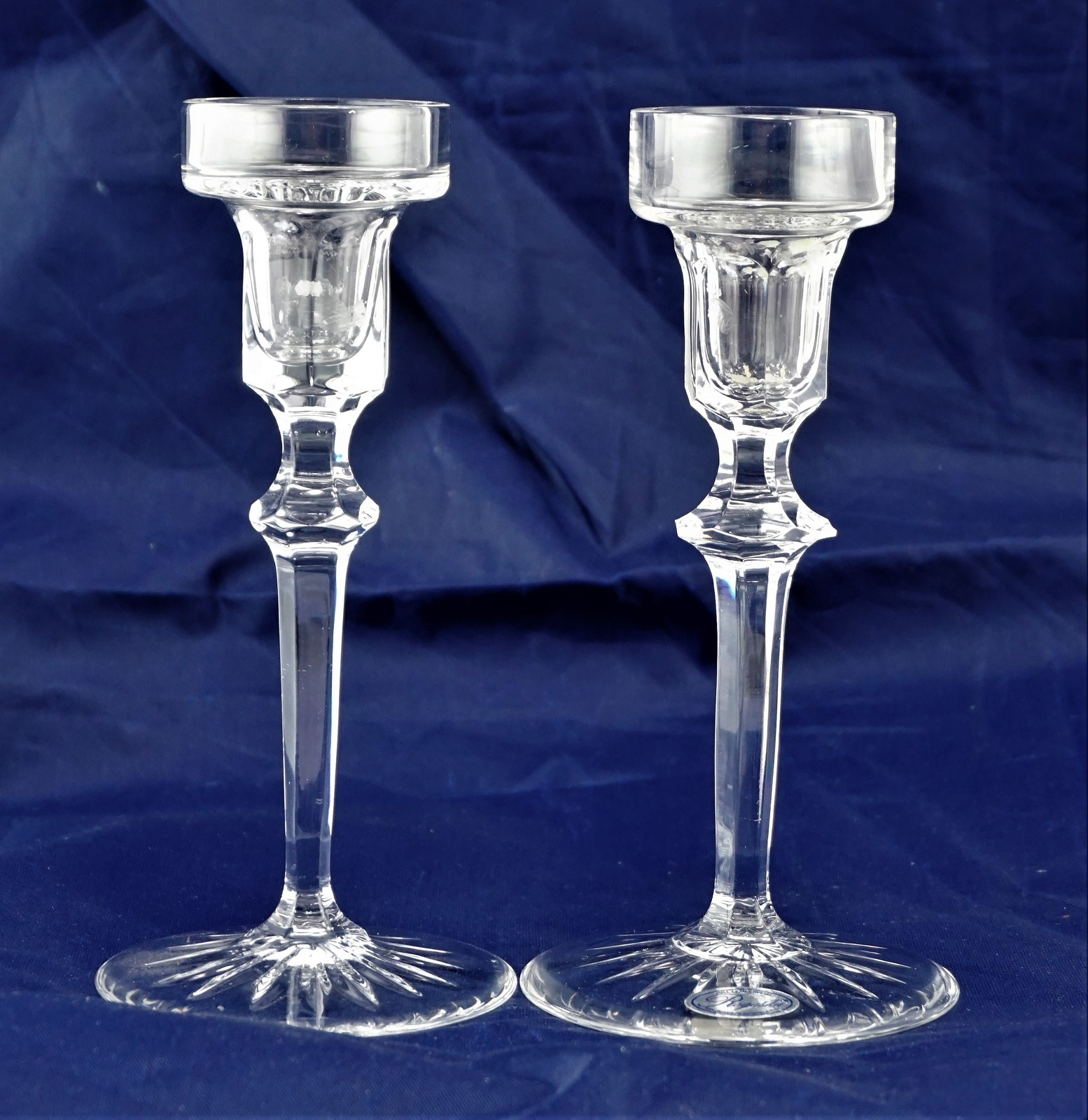 Primary image for THE ROYAL COLLECTION ROGASKA FULL LEAD CRYSTAL 2 CANDLE HOLDERS 6""