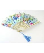 Pretty Folding Hand Fan Blue Floral Gold Trim Decorative Edge and Blue T... - $7.91